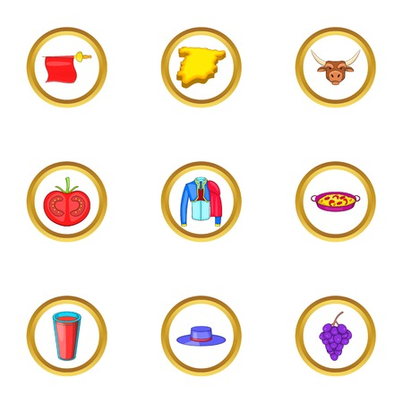 Madrid icons set. Cartoon illustration of 9 madrid vector icons for web design