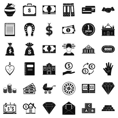 heart monitor: Deposit in bank icons set. Simple style of 36 deposit in bank vector icons for web isolated on white background