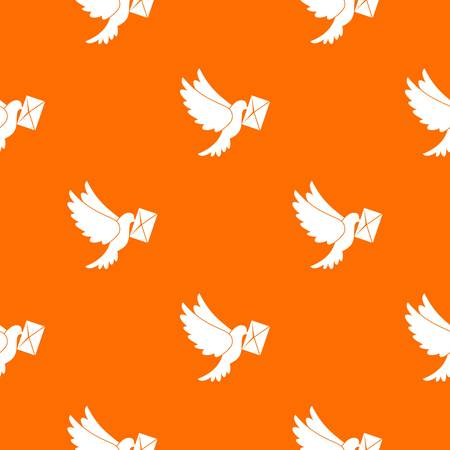 carrier pigeons: Dove carrying envelope pattern repeat seamless in orange color for any design. Vector geometric illustration