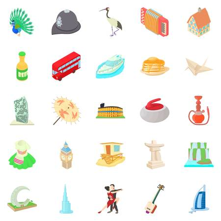 Culture icons set. Cartoon set of 25 culture vector icons for web isolated on white background Illustration