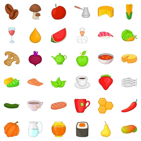 Healthy diet icons set. Cartoon style of 36 healthy diet vector icons for web isolated on white background Illustration