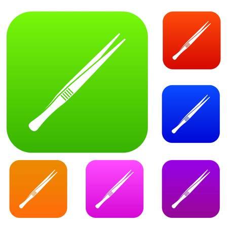 Tweezers set icon in different colors isolated vector illustration. Premium collection Vektoros illusztráció