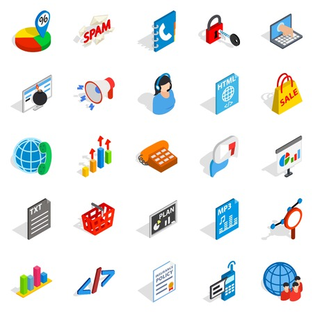 querying: Notification icons set. Isometric set of 25 notification vector icons for web isolated on white background