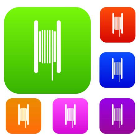 Electric cable in coil set icon in different colors isolated vector illustration. Premium collection Illustration