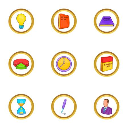 money packs: Business icon set. Cartoon style set of 9 business vector icons for web isolated on white background