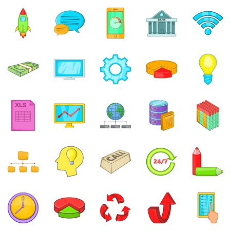 Remote server icons set, cartoon style