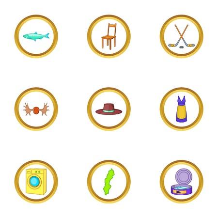 Scandinavia icons set, cartoon style