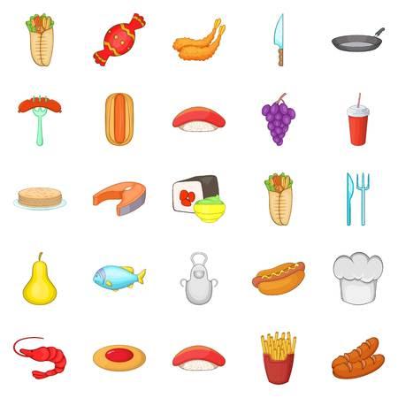 Food court icons set, cartoon style