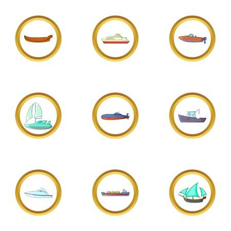 Sea cargo icons set, cartoon style