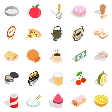 Delicious dishe icons set, cartoon style Illustration