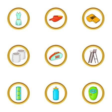 Tennis court icons set, cartoon style Illustration