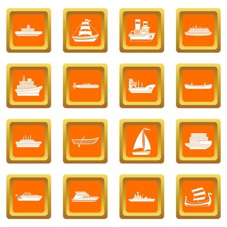 Sea transport icons set orange