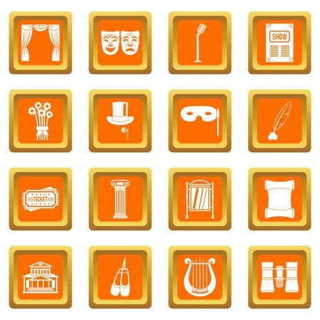 Theater icons set orange Ilustracja