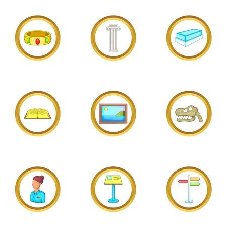Excursion icons set, cartoon style