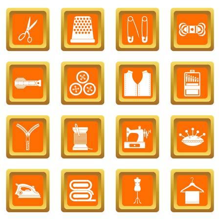 sewing machines: Sewing icons set orange Illustration