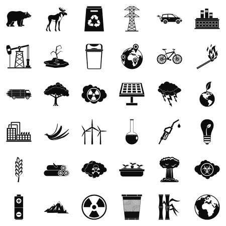 oil lamp: Our ecology icons set, simple style