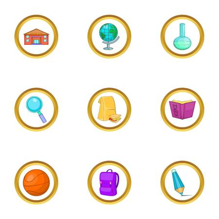 Classroom icons set, cartoon style Illustration