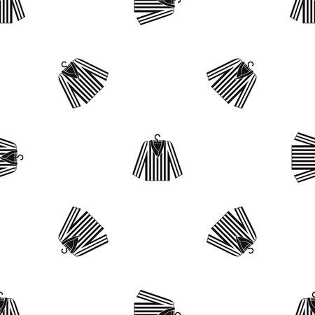 Striped pajama shirt pattern seamless black Illustration