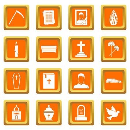 Funeral icons set orange