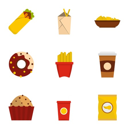 Tasty fast food icon set, flat style