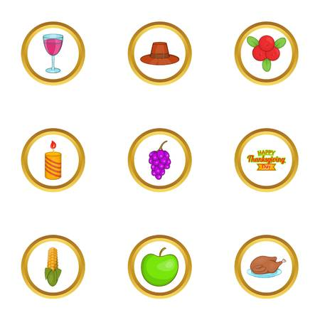 spica: Autumn celebration icons set, cartoon style