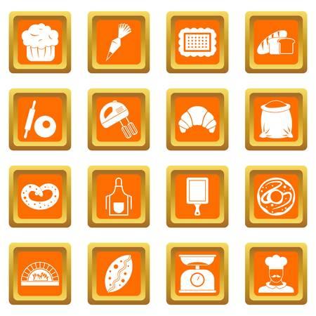 rolling bag: Bakery icons set orange Illustration