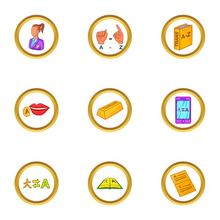 polyglot: Translation icons set, cartoon style Illustration