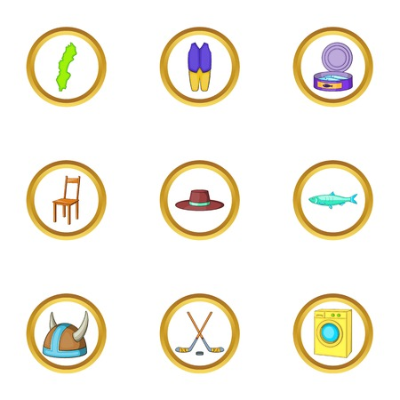 Nordic country icons set, cartoon style