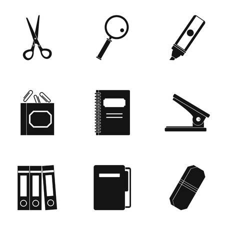 Stationery symbols icon set, simple style Illustration