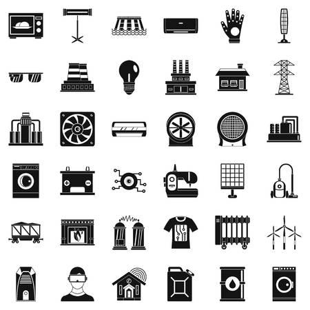 sewing machines: Saving energy icons set, simple style Illustration