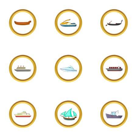 Cruise icons set, cartoon style
