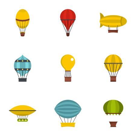 Types of airship icon set, flat style Illustration