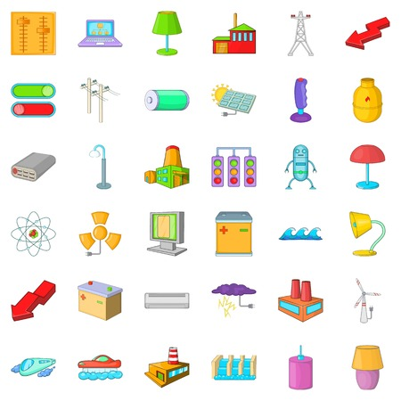 street lamp: Electricity battery icons set, cartoon style