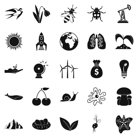 conservationist: Conservationist icons set, simple style