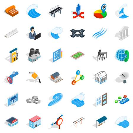 Electricity market icons set, isometric style