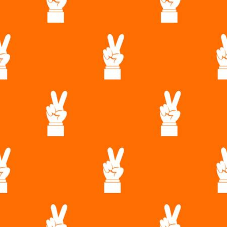 Hand with victory sign pattern seamless