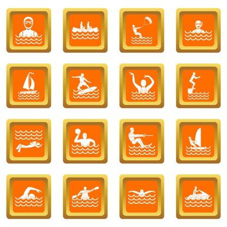 Water sport icons set orange Illustration