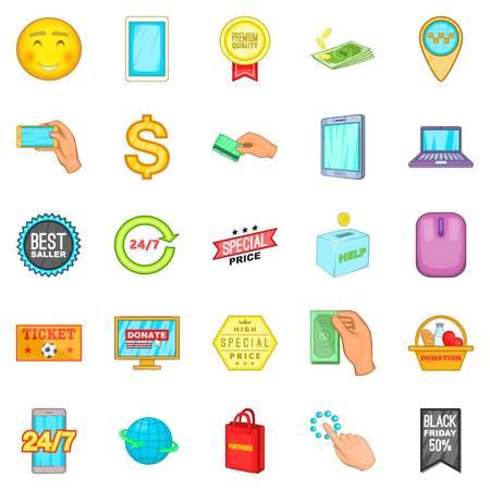 E-commerce icons set, cartoon style. Ilustração