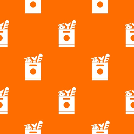 supermarket: Grocery bag with food pattern seamless. Illustration