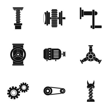 Mechanical gear icon set, simple style. Ilustração