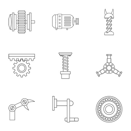 Machinery gear icon set, outline style.