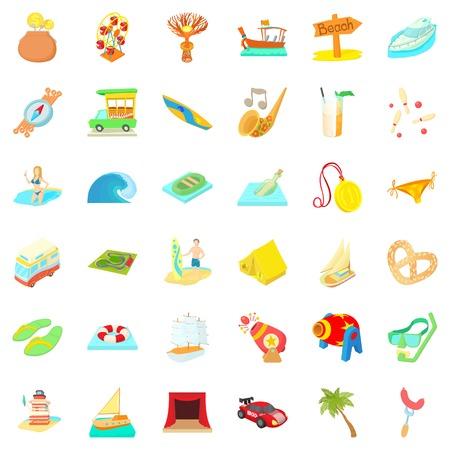 cartoon umbrella: Time for travel icons set, cartoon style Illustration