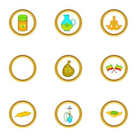 Hashish icon set, cartoon style Illustration