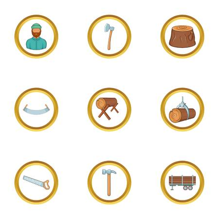 logging: Lumberjack tools icon set, cartoon style Illustration