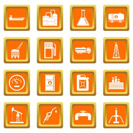 green environment: Nature items icons set orange Illustration