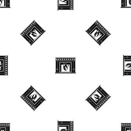 comfortable: Electric fireplace pattern seamless black