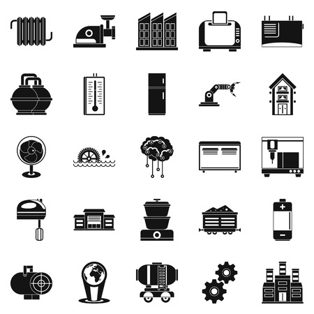 luminary: Electrical engineering icons set, simple style. Illustration