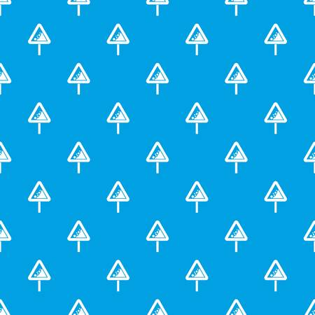 rockfall: Falling rocks warning traffic sign pattern seamless blue