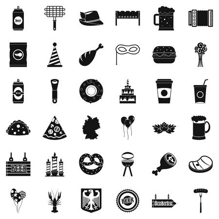 grille: Beer bottle icons set, simple style Illustration