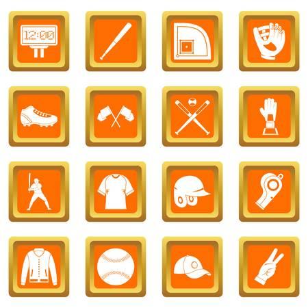 homerun: Baseball icons set orange